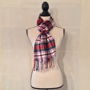 NWT Lands' End green, red, white, blue plaid scarf